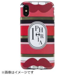 iPhone X/XS TPUケース Stripes Red Lips