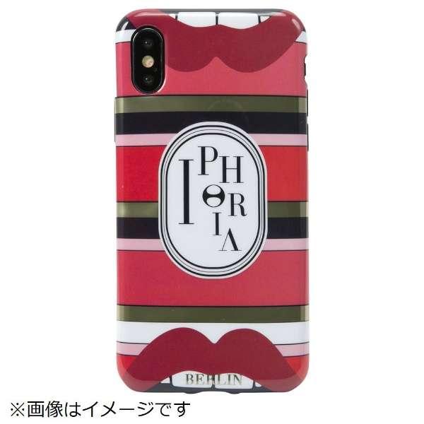 iPhone X/XS TPUケース Stripes Red Lips
