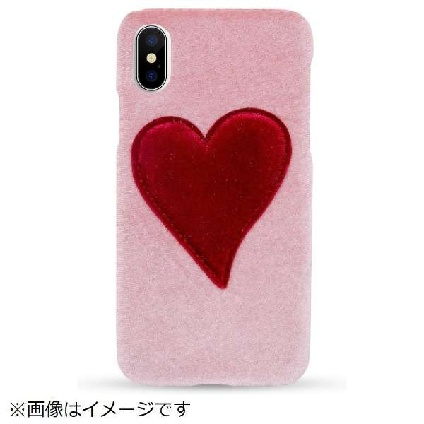 iPhone X/XS TPUケース Pink With Red Heart