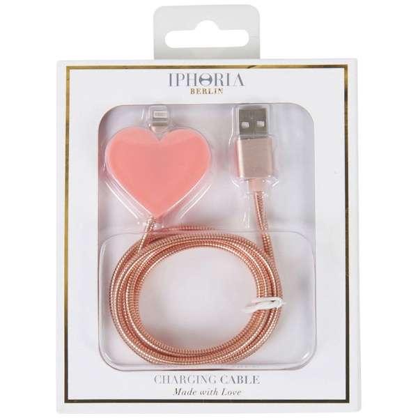 USBライトニングケーブル Metalic Heart Rosa