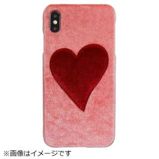iPhone XS Max PUケース Pink With Red Heart
