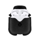 Twelve South AirSnap for AirPods - ブラック AirPods 本革 レザーケース 充電OK 落下防止 カラビナ付き TWS-BG-000048