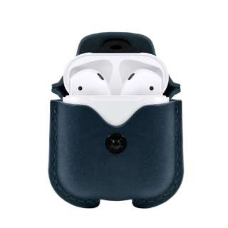 Twelve South AirSnap for AirPods - ディープティール  AirPods 本革 レザーケース 充電OK 落下防止 カラビナ付き TWS-BG-000050