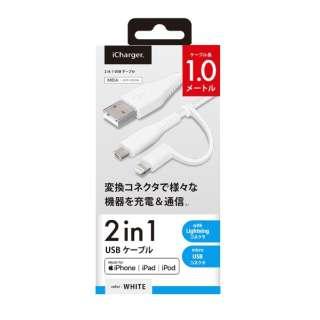 変換コネクタ付き 2in1 USBケーブル(Lightningμ USB) PG-LMC10M04WH 1m ホワイト [1.0m]
