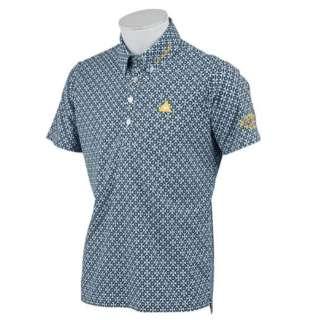 メンズ ゴルフ ウエア 半袖シャツ サーフレコードパターンポロシャツ(Lサイズ/ネイビー) QGMNJA29