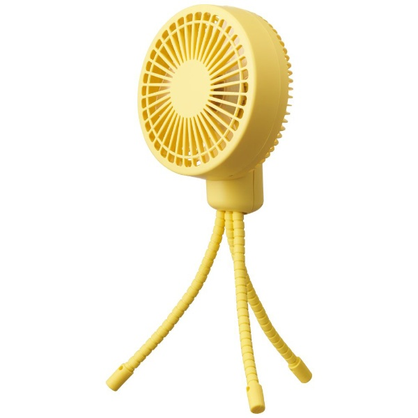 ドウシシャ ピエリア ミニ扇風機 お出かけファン 9cm 風量3段階 フレキシブルアーム イエロー FSU-92B-YL 1台 PIERIA