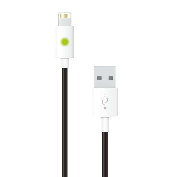 【数量限定】 ライトニングケーブル 充電状況を確認できるLED搭載。充電・同期対応  MFi認証 1.0m iPhone / iPad対応 AL-ACC21K ブラック [1.0m]