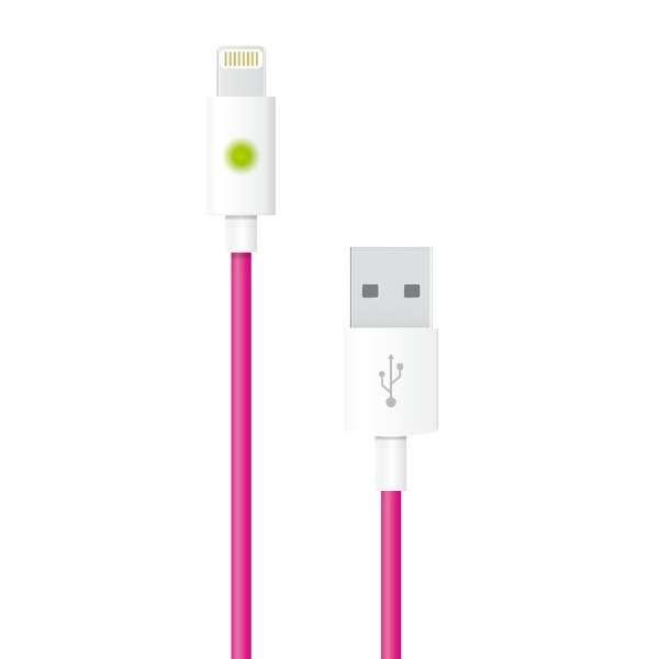 【数量限定】 ライトニングケーブル 充電状況を確認できるLED搭載。充電・同期対応  MFi認証 1.0m iPhone / iPad対応 AL-ACC21P ピンク [1.0m]