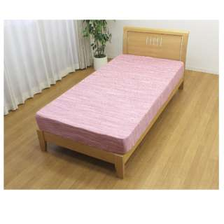 【ボックスシーツ】天竺ニット カーマン シングルサイズ(ポリエステル65%、綿35%/100×200×28cm/ピンク)