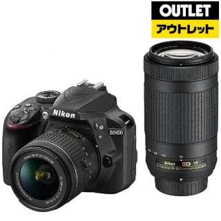 【アウトレット品】 D3400 デジタル一眼レフカメラ ブラック [ズームレンズ+ズームレンズ] 【外装不良品】