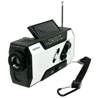 防滴手回し・ソーラー充電ラジオライト KDR-201WP ホワイトxブラック [防滴ラジオ /AM/FM /ワイドFM対応]