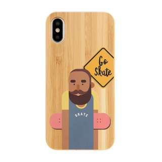 [iPhone XS/X専用]kibaco BAMBOO RUBBER CASE 663-103163 GO SKATE
