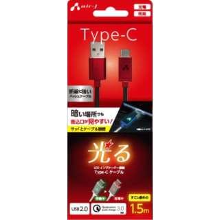 LED付 Type-Cケーブル 1.5M  RD UCJLED150RD