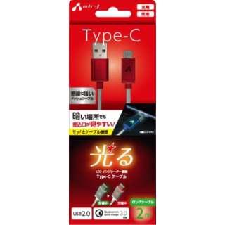 LED付 Type-Cケーブル 2M  RD UCJLED200RD