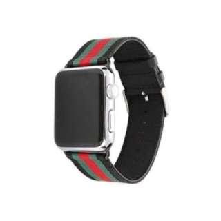 Apple Watch (42mm) ベルト ストライプ ブラックグリーン