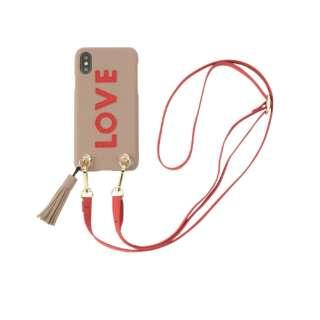 Strap Beige Love for iPhone X/XS ストラップベージュラヴ 16173