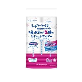 エリエールシャワートイレのためにつくった吸水力が2倍のトイレットペーパーフラワープリント香水付き12R (ダブル)