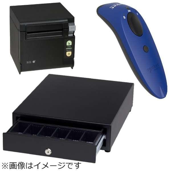 AirレジBセット(黒) レシートプリンター RP-D10-K27J2-B/キャッシュドロア DRW-A01-K/バーコードリーダー CX3360-1682