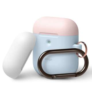elago AIRPODS DUO HANG CASE for AirPods 2nd Generation Wireless Charging Case for AirPods 2nd Wireless (Pastel Blue) EL_A2WCSSCOW_PB
