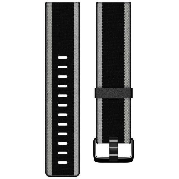 Fitbit  Versa/VersaLite 専用 ウーブンハイブリッドバンド Black/Gray ブラック/グレー Lサイズ FB166WBBKGYL ブラック/グレー