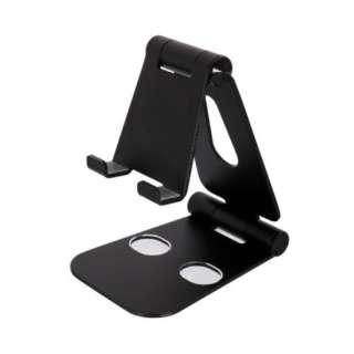 充電しながら角度調整できるアルミスタンド スマートフォン/タブレット対応 OWL-STD03-BK ブラック