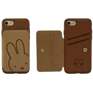 ミッフィー iPhone8/7対応カードフラップケース ブラウン