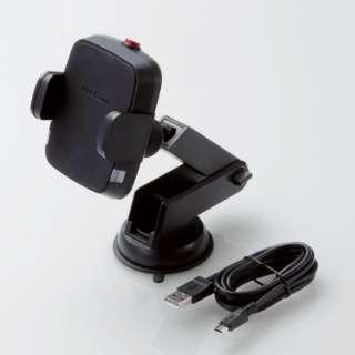 Qi規格対ワイヤレス充電器 5W 車載ホルダー 吸盤 ロングタイプ ブラック W-QC04BK