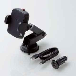 Qi規格対ワイヤレス充電器 5W 車載ホルダー 吸盤 ロングタイプ シガーチャージャー付属 ブラック W-QC05BK
