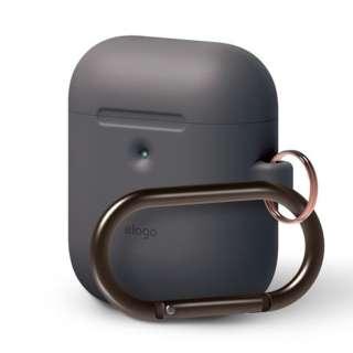 elago AIRPODS HANG CASE for AirPods 2nd Generation Wireless Charging Case for AirPods 2nd Wireless (Dark grey) Dark Gray EL_A2WCSSCHW_GY