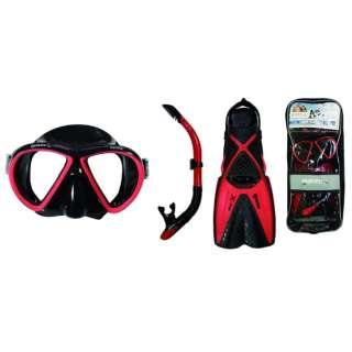 シュノーケリング用 マスク+シュノーケル+フィン 3点セット X-ONE MAREA SET(エックスワン マレア セット/ブラック×レッド/SMサイズ)480125