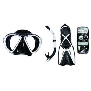シュノーケリング用 マスク+シュノーケル+フィン 3点セット X-ONE MAREA SET(エックスワン マレア セット/ブラック×ホワイト/SMサイズ)480125