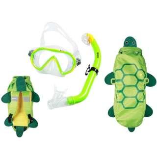 子供用 シュノーケリング用 マスク+シュノーケル+メッシュバッグ 3点セット SEA FRIENDS(シーフレンズ/GREEN:カメ) 481110