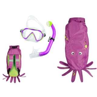 子供用 シュノーケリング用 マスク+シュノーケル+メッシュバッグ 3点セット SEA FRIENDS(シーフレンズ/PURPLE:タコ) 481110