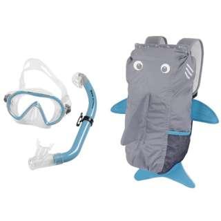 子供用 シュノーケリング用 マスク+シュノーケル+メッシュバッグ 3点セット SEA FRIENDS(シーフレンズ/LIGHTBLUE:サメ) 481110