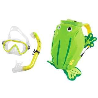 子供用 シュノーケリング用 マスク+シュノーケル+メッシュバッグ 3点セット SEA FRIENDS(シーフレンズ/YELLOW:カエル) 481110