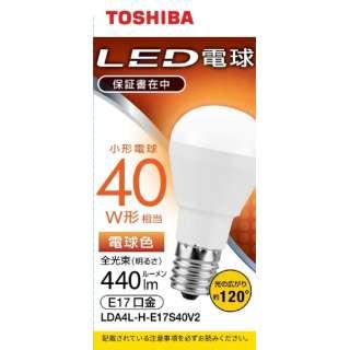 LED電球 口金E17 ミニクリプトン形 調光非対応 全光束440lm 電球色 配光角ビーム角120度 40W相当 LDA4L-H-E17S40V2
