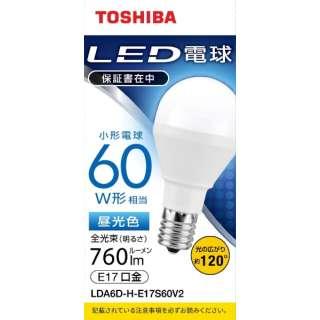 LED電球 口金E17 ミニクリプトン形 調光非対応 全光束760lm 昼光色 配光角ビーム角120度 60W相当 LDA6D-H-E17S60V2