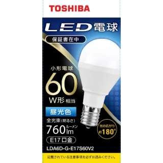 LED電球 口金E17 ミニクリプトン形 調光非対応 全光束760lm 昼光色 配光角ビーム角180度 60W相当 広配光タイプ LDA6D-G-E17S60V2