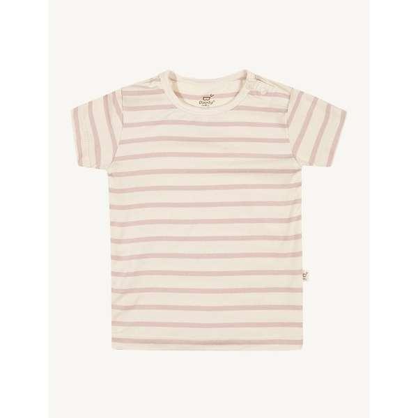 【店舗のみの販売】 ベビーウエア Tシャツ(ストライプ)(チョーク×ローズ/3~6mths:3ヶ月~6ヶ月/国内サイズ:65) TSCR36
