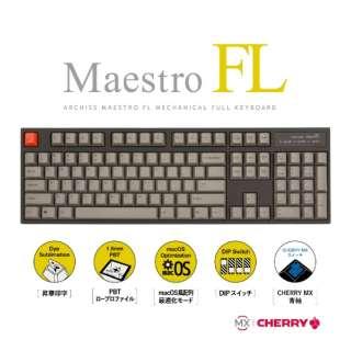 MaestroFL 英語配列 US 青軸 メカニカル フル キーボード 有線 USB-A / USB-C対応 Win / Mac対応 104キー PBTキーキャップ オフィス/ゲーミング AS-KBM04/CGB AS-KBM04/CGB 筺体:ブラック / キーキャップ:グレー