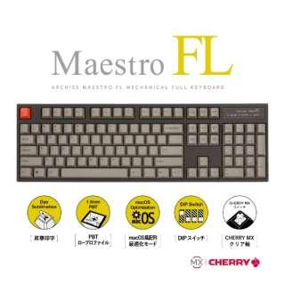 MaestroFL 英語配列 US クリア軸 メカニカル フル キーボード 有線 USB-A / USB-C対応 Win / Mac対応 104キー PBTキーキャップ オフィス/ゲーミング AS-KBM04/TCGB AS-KBM04/TCGB 筺体:ブラック / キーキャップ:グレー