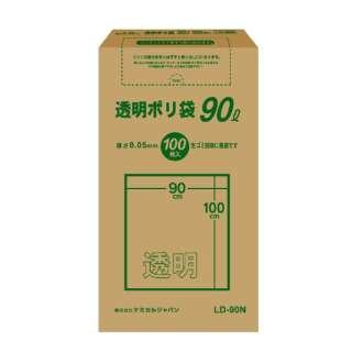 CJ(ケミカルジャパン)透明ポリ袋90L BOX100P LD-90N