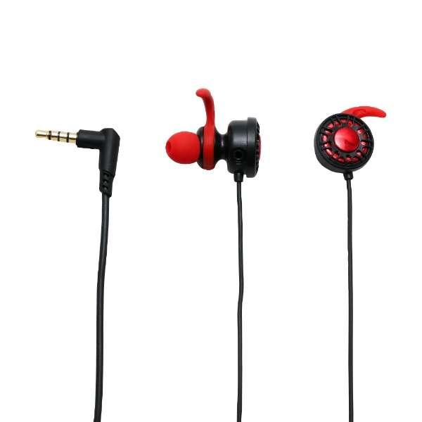 ゲーミングイヤホンヘッドセット カナル式 GMA-HS01/RD [φ3.5mmミニプラグ /両耳 /イヤホンタイプ]