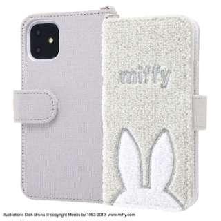 iPhone 11 6.1インチ / 『ミッフィー 』/サガラ刺繍 手帳型ケース 帆布/グレー IS-BP21SGR1/MF1