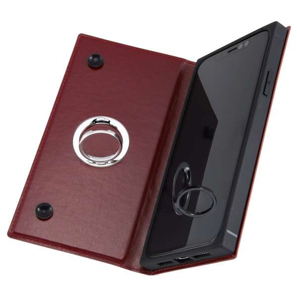 iPhone 11 6.1インチ / 手帳型 耐衝撃レザーケース KAKU リング付360 ピタッとカバー/レッド IN-P21KBC1/R