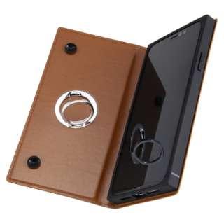 iPhone 11 6.1インチ / 手帳型 耐衝撃レザーケース KAKU リング付360 ピタッとカバー/キャメル IN-P21KBC1/K
