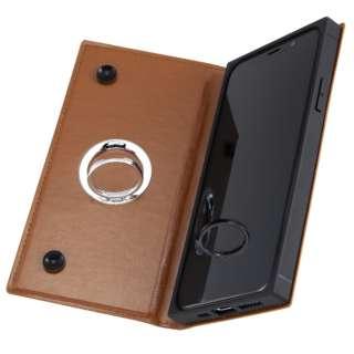 iPhone 11 Pro 5.8インチ / 手帳型 耐衝撃レザーケース KAKU リング付360 ピタッとカバー/キャメル IN-P23KBC1/K