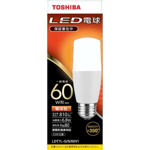 LED電球(T形)60W形相当 電球色 口金E26 LDT7L-G/S/60V1