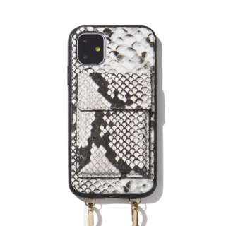 iPhone 11 6.1インチ  Crossbody Case Set Gray Python Leather 292-4002-0011
