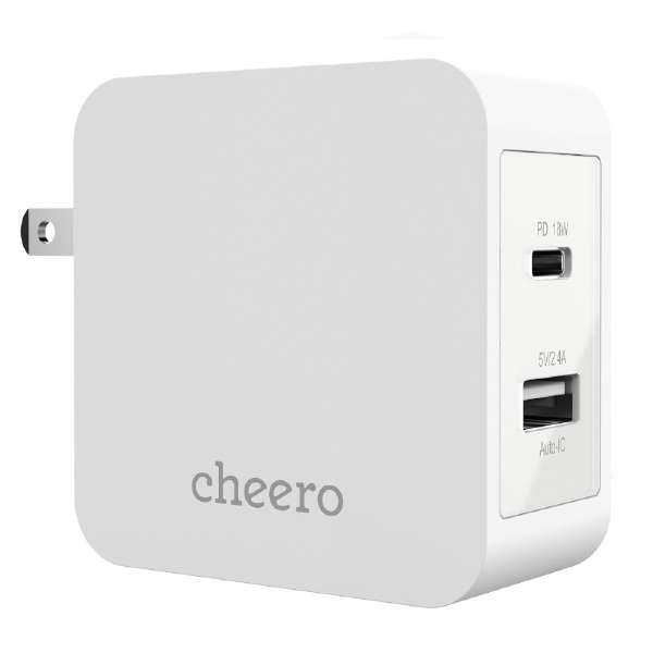 cheero 2 port  Charger (  18W + USB ) CHE-327-WH [USB Power Delivery対応]